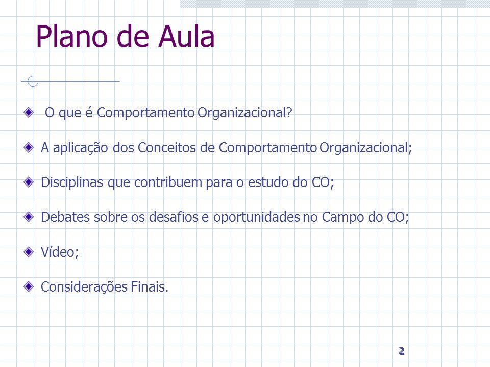 2 2 2 Plano de Aula O que é Comportamento Organizacional? A aplicação dos Conceitos de Comportamento Organizacional; Disciplinas que contribuem para o
