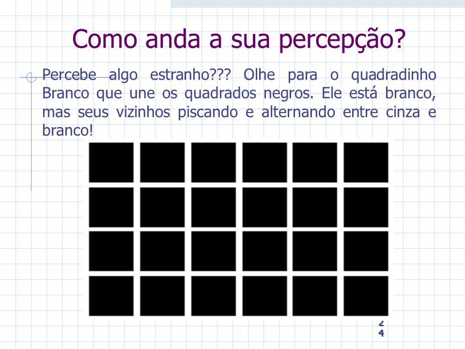 24 24 24 Como anda a sua percepção? Percebe algo estranho??? Olhe para o quadradinho Branco que une os quadrados negros. Ele está branco, mas seus viz