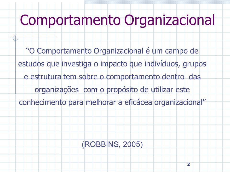 4 4 Nível Organizacional O COMPORTAMENTO ORGANIZACIONAL É um campo de estudos voltado a prever, explicar, compreender e modificar o comportamento humano no contexto das empresas.