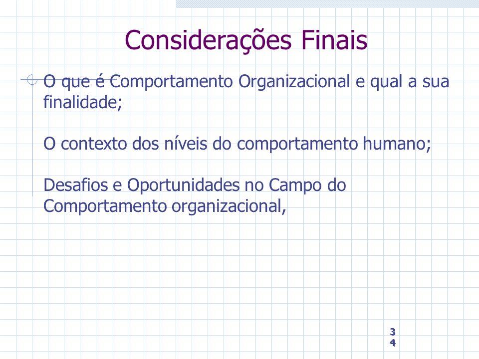 34 34 34 Considerações Finais O que é Comportamento Organizacional e qual a sua finalidade; O contexto dos níveis do comportamento humano; Desafios e