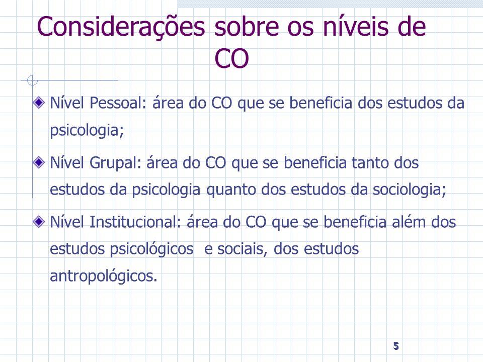 5 5 5 Considerações sobre os níveis de CO Nível Pessoal: área do CO que se beneficia dos estudos da psicologia; Nível Grupal: área do CO que se benefi