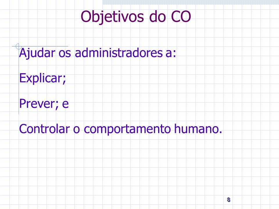 8 8 8 Objetivos do CO Ajudar os administradores a: Explicar; Prever; e Controlar o comportamento humano.