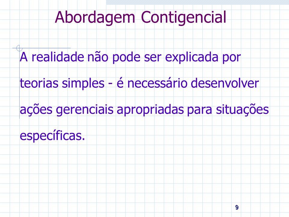 9 9 9 Abordagem Contigencial A realidade não pode ser explicada por teorias simples - é necessário desenvolver ações gerenciais apropriadas para situa