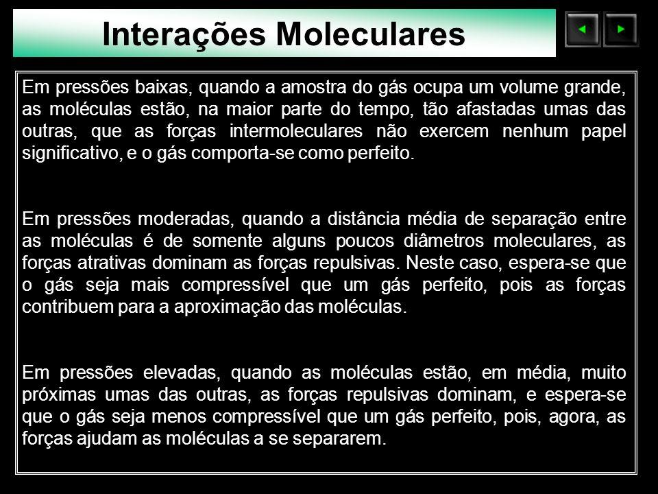 Sólidos Moleculares Interações Moleculares Em pressões baixas, quando a amostra do gás ocupa um volume grande, as moléculas estão, na maior parte do t