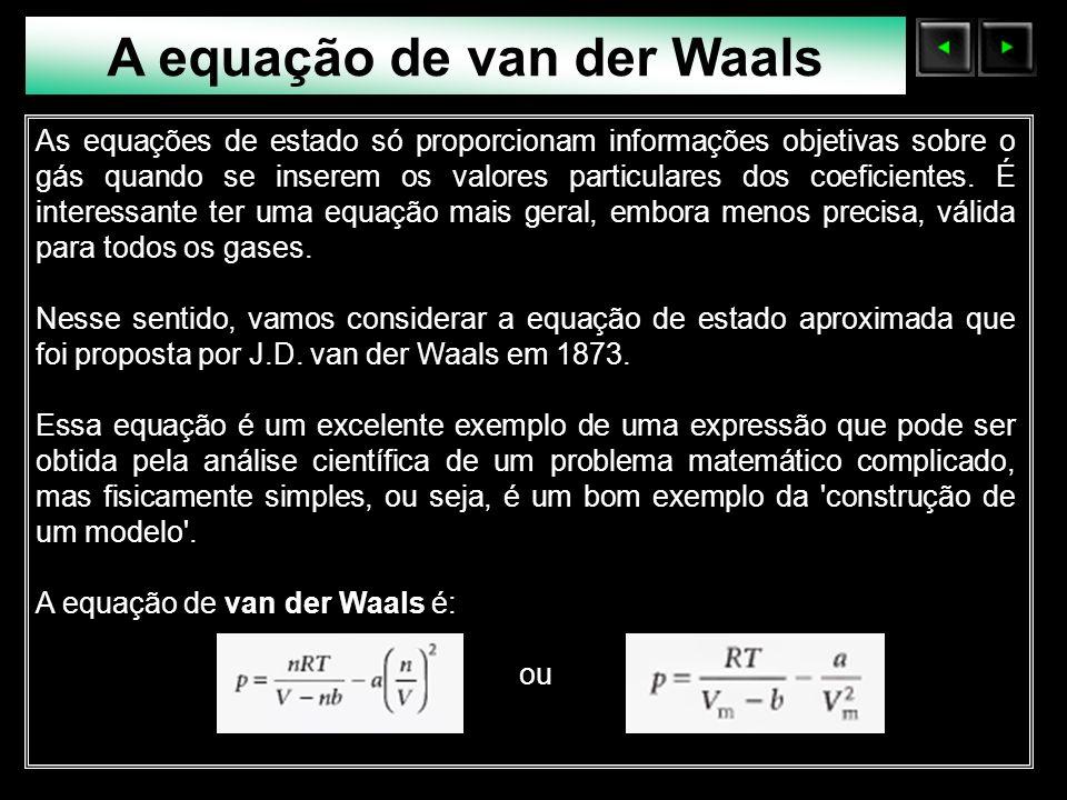 Sólidos Moleculares A equação de van der Waals As equações de estado só proporcionam informações objetivas sobre o gás quando se inserem os valores pa