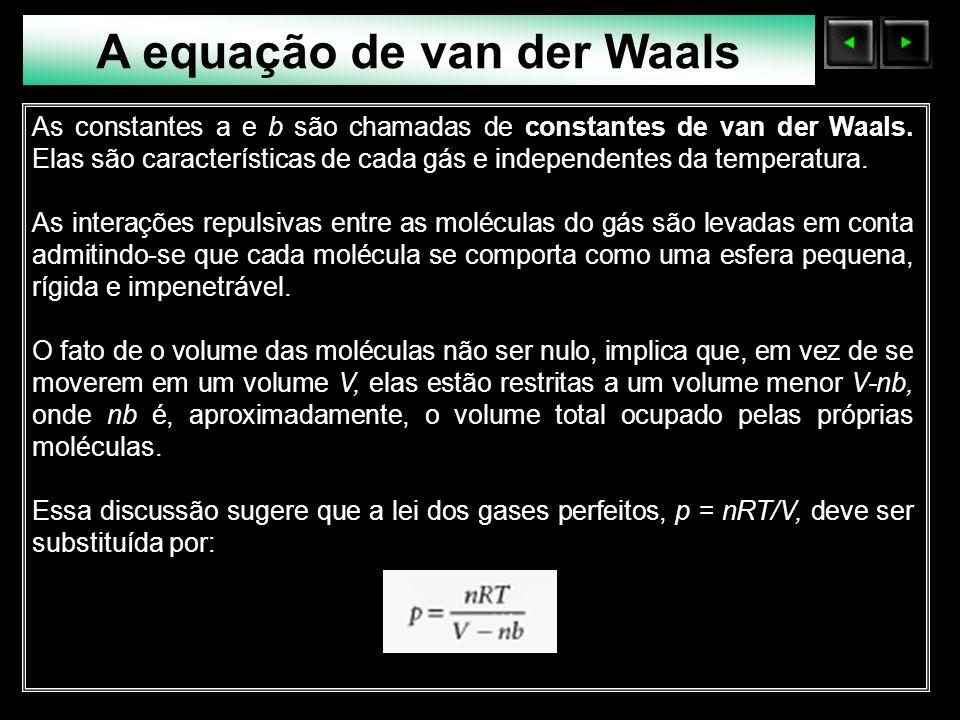 Sólidos Moleculares A equação de van der Waals As constantes a e b são chamadas de constantes de van der Waals. Elas são características de cada gás e