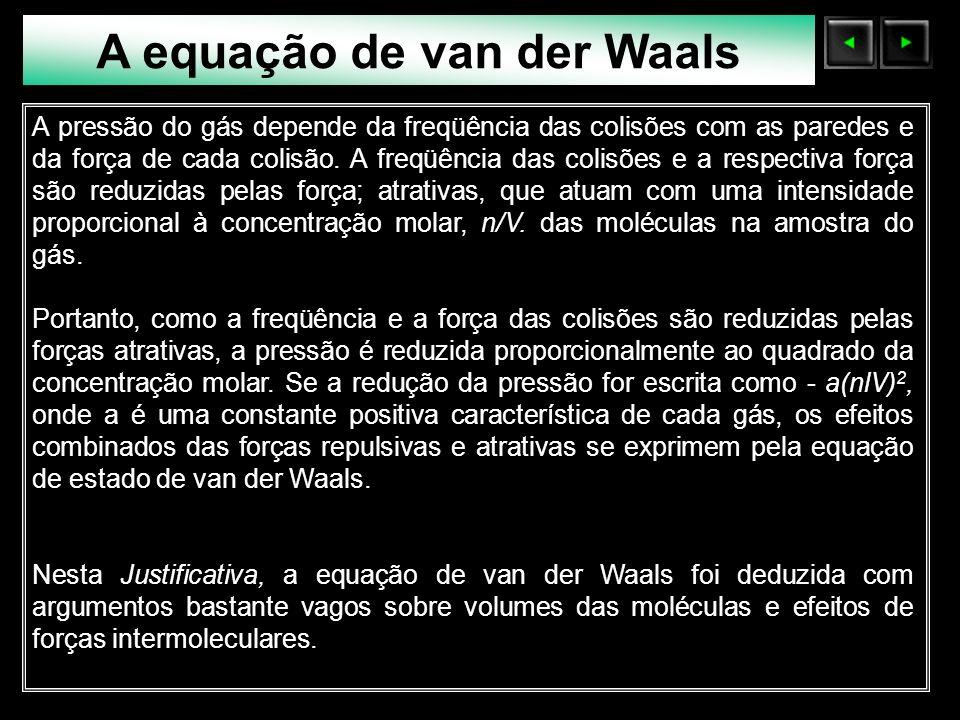 Sólidos Moleculares A equação de van der Waals A pressão do gás depende da freqüência das colisões com as paredes e da força de cada colisão. A freqüê