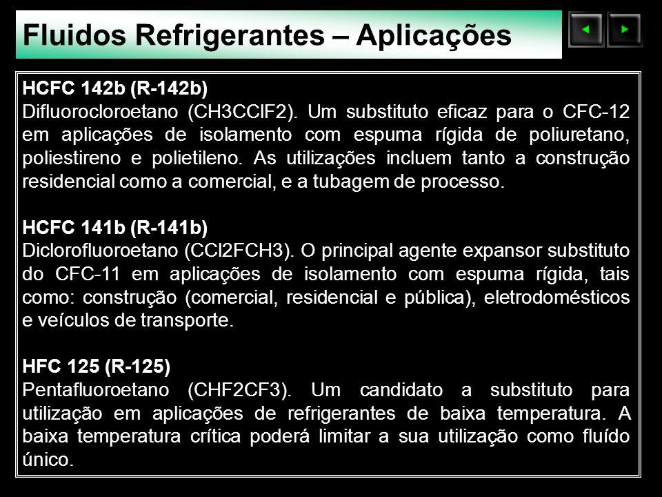 Sólidos Moleculares Fluidos Refrigerantes – Aplicações HCFC 142b (R-142b) Difluorocloroetano (CH3CClF2). Um substituto eficaz para o CFC-12 em aplicaç