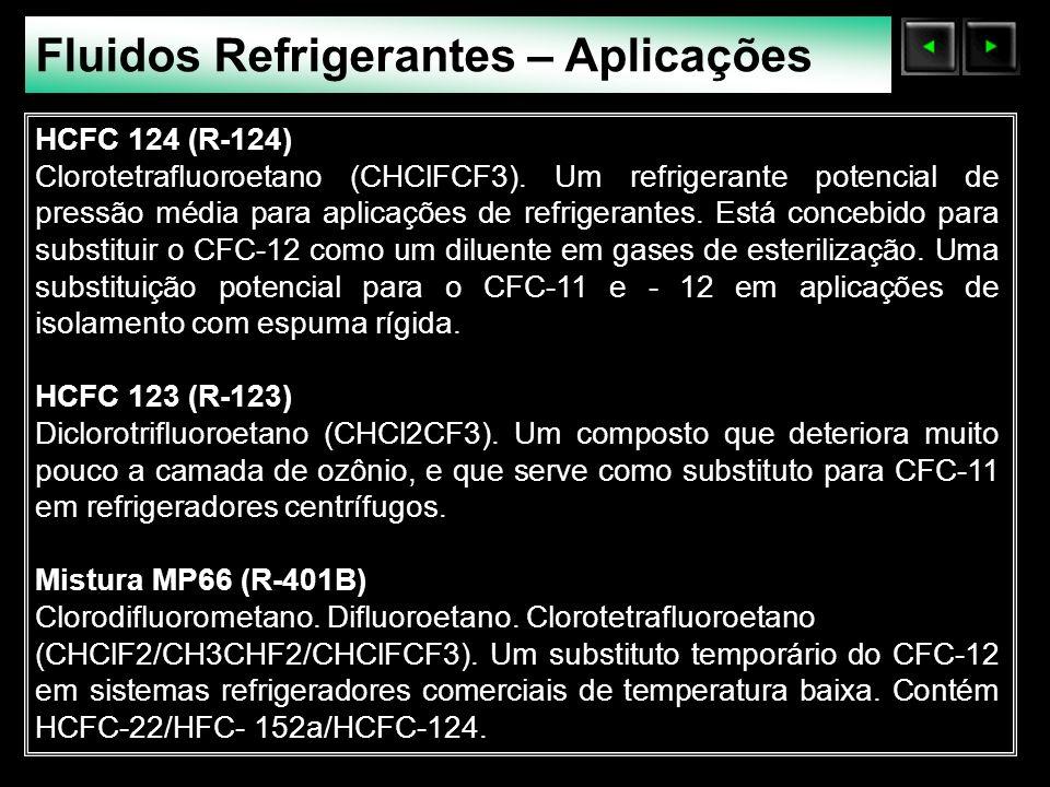 Sólidos Moleculares Fluidos Refrigerantes – Aplicações HCFC 124 (R-124) Clorotetrafluoroetano (CHClFCF3). Um refrigerante potencial de pressão média p