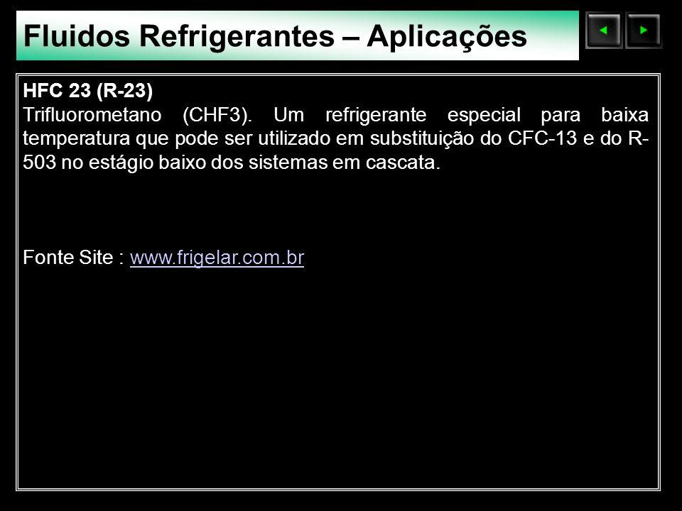 Sólidos Moleculares Fluidos Refrigerantes – Aplicações HFC 23 (R-23) Trifluorometano (CHF3). Um refrigerante especial para baixa temperatura que pode