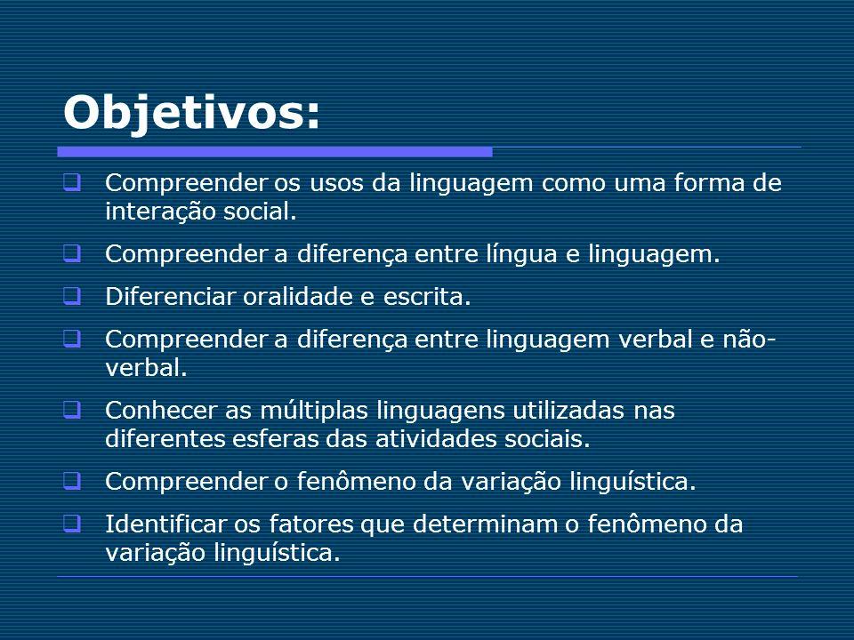 Objetivos: Compreender os usos da linguagem como uma forma de interação social. Compreender a diferença entre língua e linguagem. Diferenciar oralidad