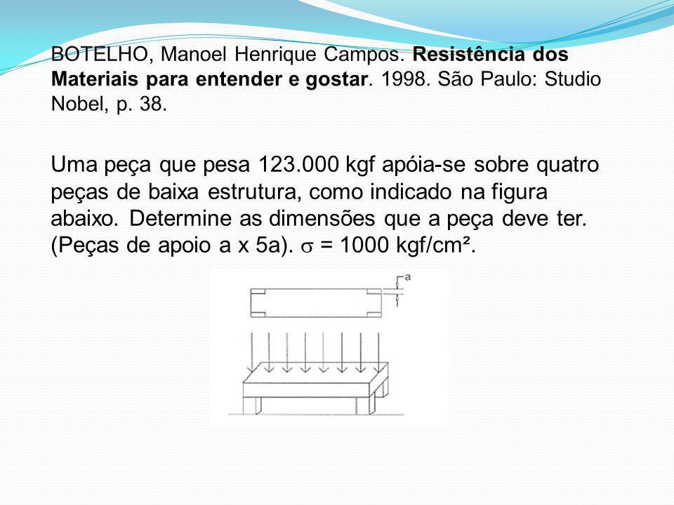 Uma peça que pesa 123.000 kgf apóia-se sobre quatro peças de baixa estrutura, como indicado na figura abaixo. Determine as dimensões que a peça deve t