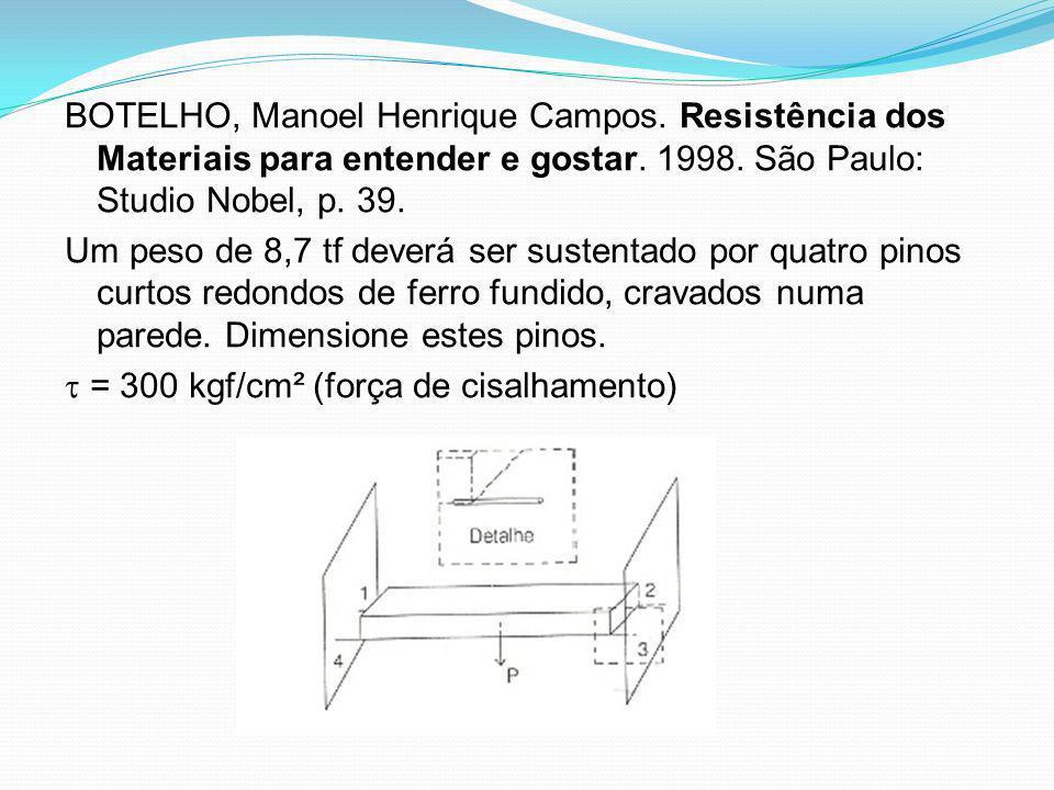 BOTELHO, Manoel Henrique Campos. Resistência dos Materiais para entender e gostar. 1998. São Paulo: Studio Nobel, p. 39. Um peso de 8,7 tf deverá ser
