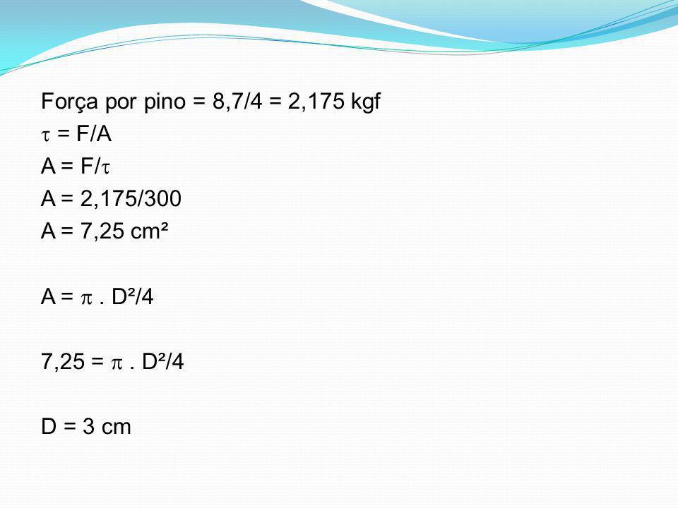 Força por pino = 8,7/4 = 2,175 kgf = F/A A = F/ A = 2,175/300 A = 7,25 cm² A =. D²/4 7,25 =. D²/4 D = 3 cm