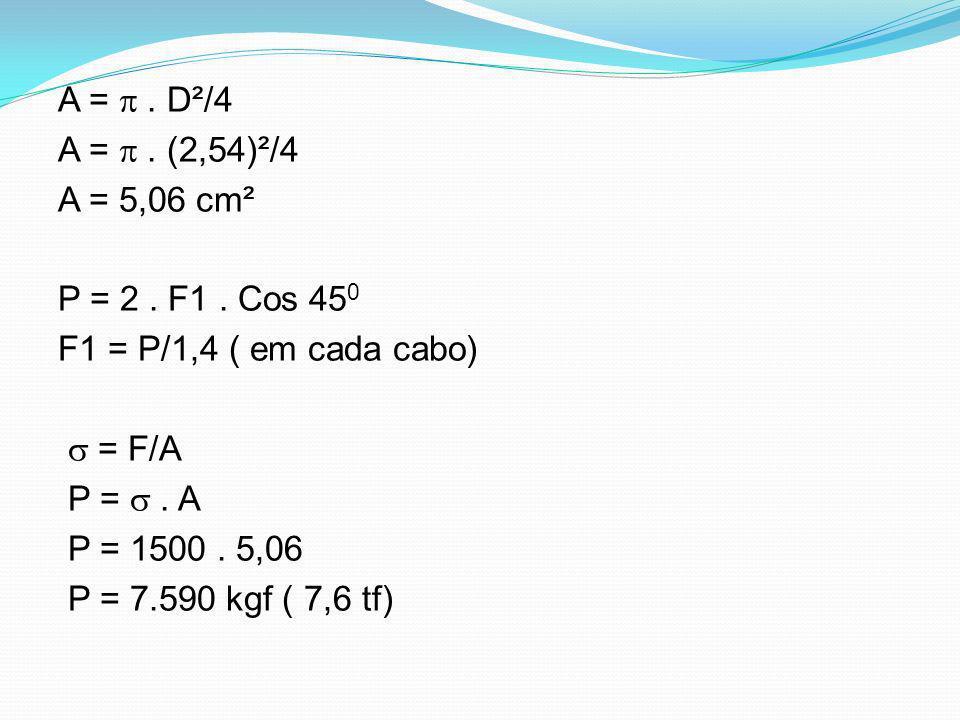 A =. D²/4 A =. (2,54)²/4 A = 5,06 cm² P = 2. F1. Cos 45 0 F1 = P/1,4 ( em cada cabo) = F/A P =. A P = 1500. 5,06 P = 7.590 kgf ( 7,6 tf)