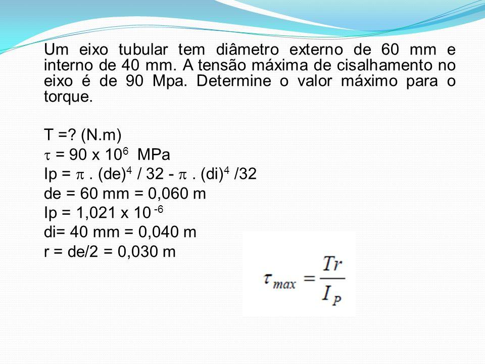 Um eixo tubular tem diâmetro externo de 60 mm e interno de 40 mm. A tensão máxima de cisalhamento no eixo é de 90 Mpa. Determine o valor máximo para o