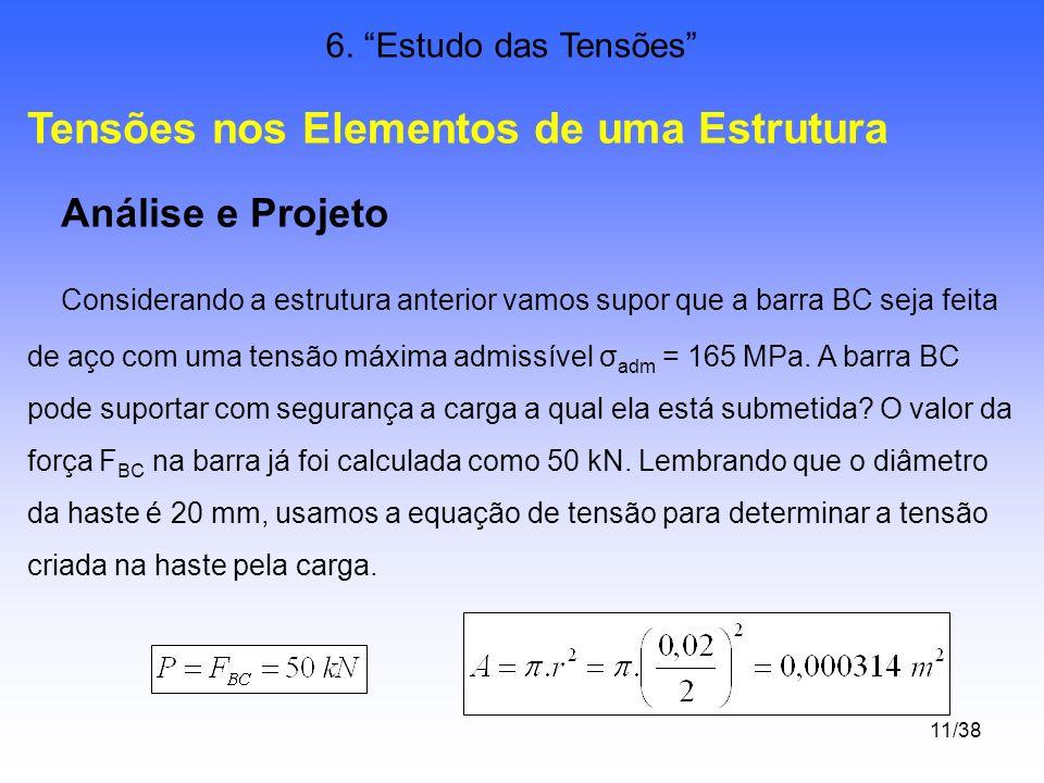 11/38 6. Estudo das Tensões Tensões nos Elementos de uma Estrutura Análise e Projeto Considerando a estrutura anterior vamos supor que a barra BC seja