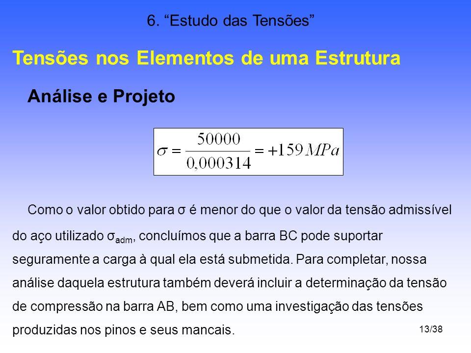 13/38 6. Estudo das Tensões Tensões nos Elementos de uma Estrutura Análise e Projeto Como o valor obtido para σ é menor do que o valor da tensão admis