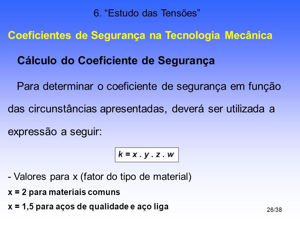 26/38 6. Estudo das Tensões Coeficientes de Segurança na Tecnologia Mecânica Cálculo do Coeficiente de Segurança Para determinar o coeficiente de segu
