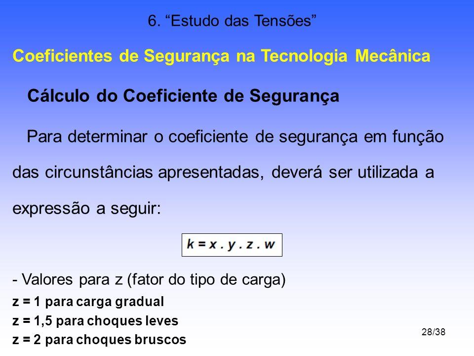 28/38 6. Estudo das Tensões Coeficientes de Segurança na Tecnologia Mecânica Cálculo do Coeficiente de Segurança Para determinar o coeficiente de segu