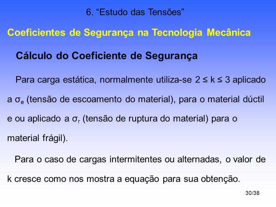 30/38 6. Estudo das Tensões Coeficientes de Segurança na Tecnologia Mecânica Cálculo do Coeficiente de Segurança Para carga estática, normalmente util