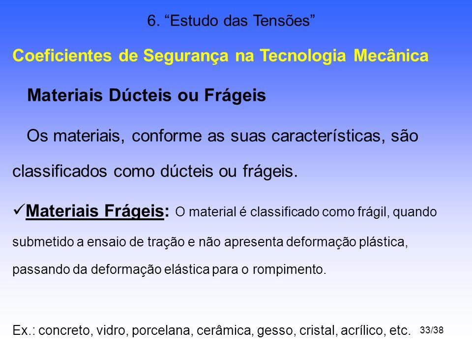 33/38 6. Estudo das Tensões Coeficientes de Segurança na Tecnologia Mecânica Materiais Dúcteis ou Frágeis Os materiais, conforme as suas característic
