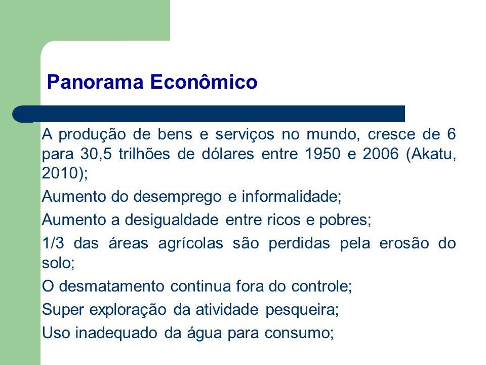 A produção de bens e serviços no mundo, cresce de 6 para 30,5 trilhões de dólares entre 1950 e 2006 (Akatu, 2010); Aumento do desemprego e informalida