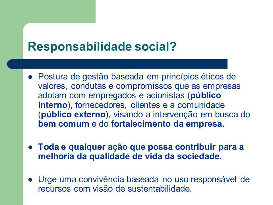Responsabilidade social? Postura de gestão baseada em princípios éticos de valores, condutas e compromissos que as empresas adotam com empregados e ac