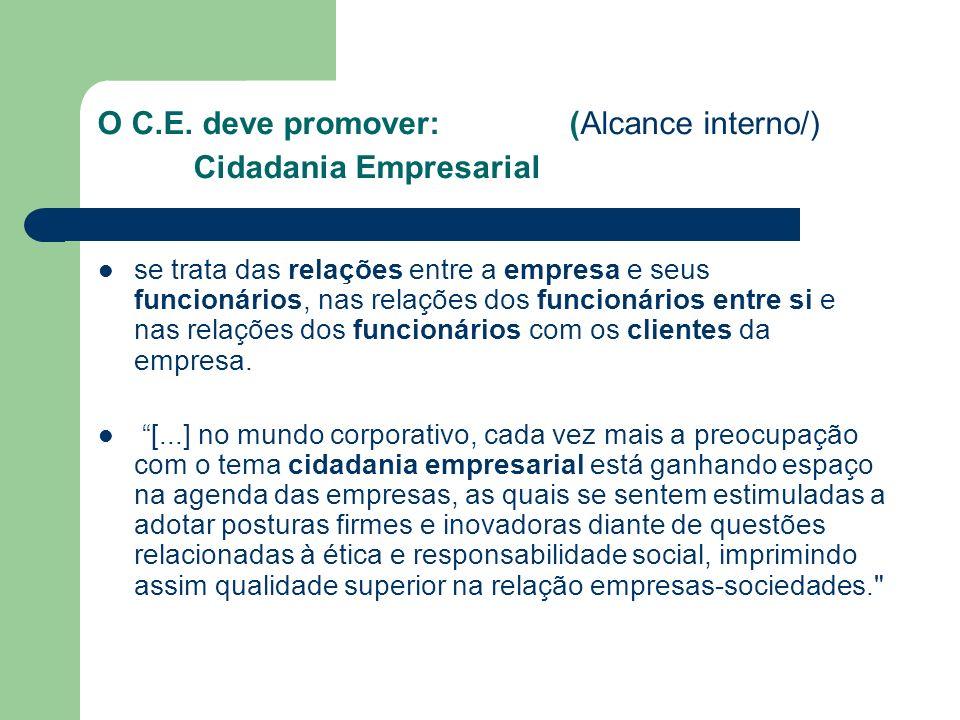 O C.E. deve promover: (Alcance interno/) Cidadania Empresarial se trata das relações entre a empresa e seus funcionários, nas relações dos funcionário