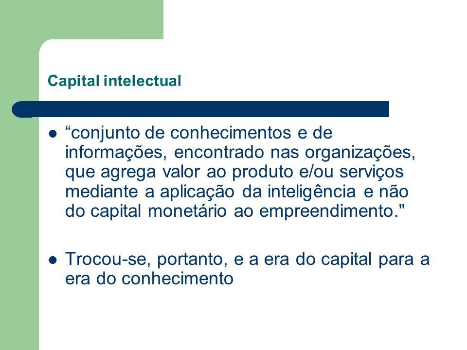 Capital intelectual conjunto de conhecimentos e de informações, encontrado nas organizações, que agrega valor ao produto e/ou serviços mediante a apli