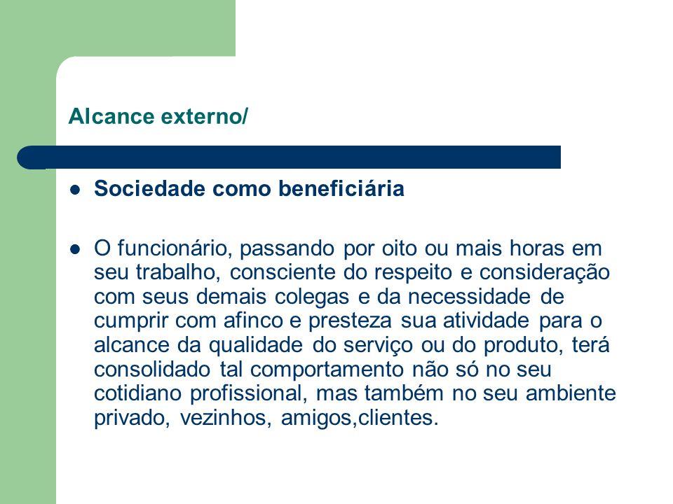 Alcance externo/ Sociedade como beneficiária O funcionário, passando por oito ou mais horas em seu trabalho, consciente do respeito e consideração com