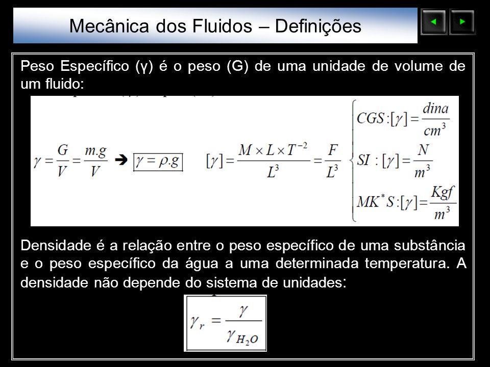 Sólidos Moleculares Peso Específico (γ) é o peso (G) de uma unidade de volume de um fluido: Densidade é a relação entre o peso específico de uma subst
