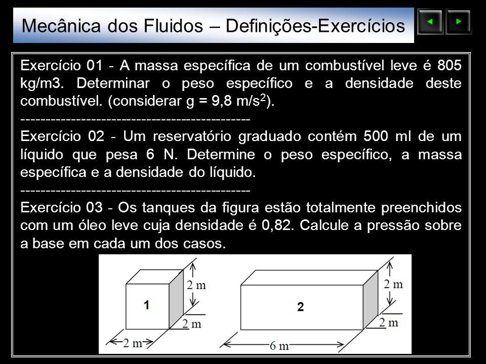 Sólidos Moleculares Exercício 01 - A massa específica de um combustível leve é 805 kg/m3. Determinar o peso específico e a densidade deste combustível