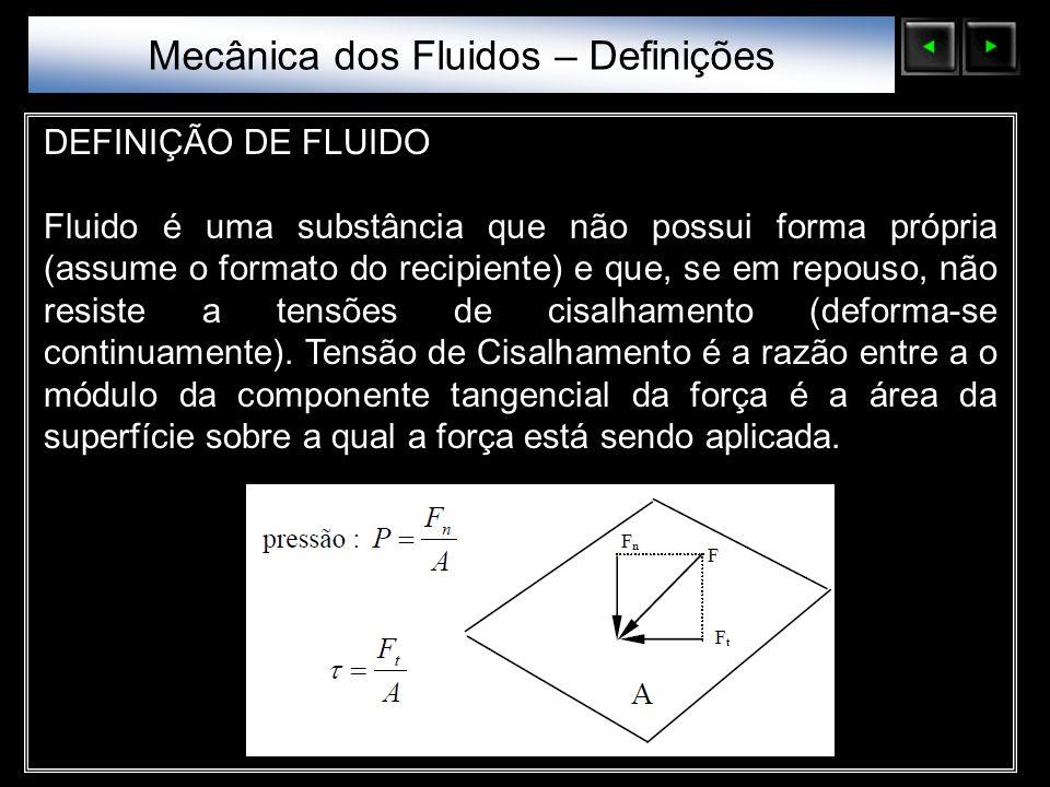 Sólidos Moleculares DEFINIÇÃO DE FLUIDO Fluido é uma substância que não possui forma própria (assume o formato do recipiente) e que, se em repouso, nã