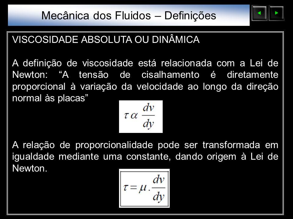 Sólidos Moleculares VISCOSIDADE ABSOLUTA OU DINÂMICA A definição de viscosidade está relacionada com a Lei de Newton: A tensão de cisalhamento é diret