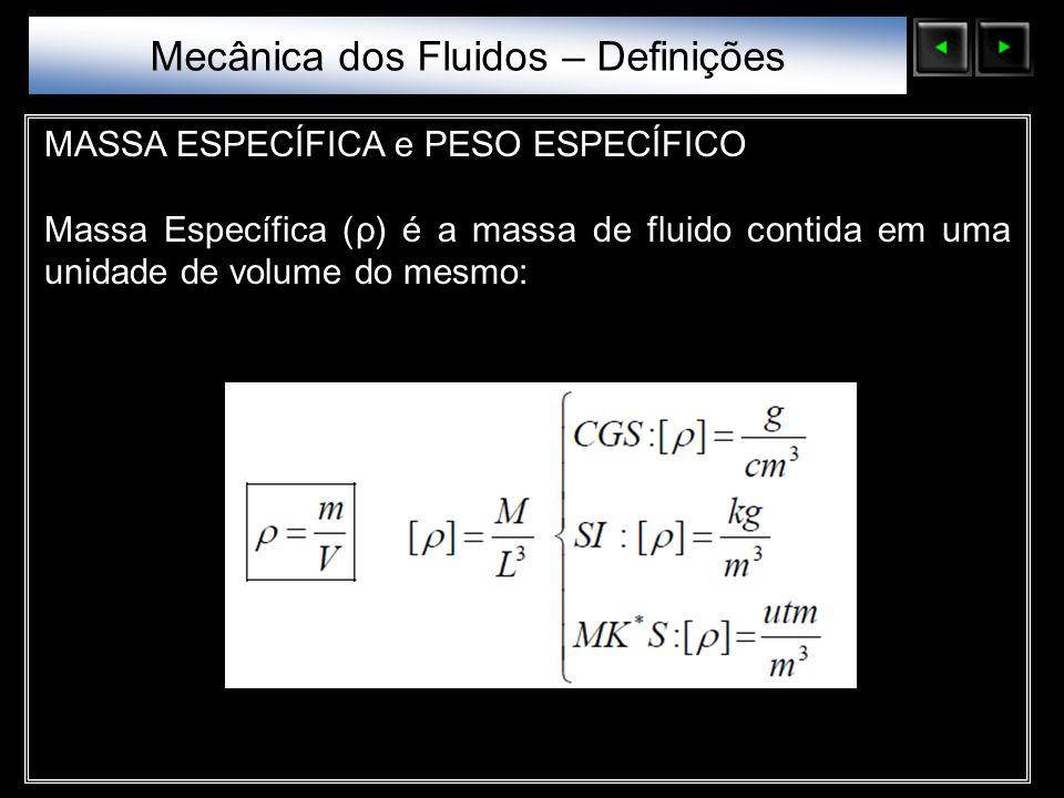 Sólidos Moleculares MASSA ESPECÍFICA e PESO ESPECÍFICO Massa Específica (ρ) é a massa de fluido contida em uma unidade de volume do mesmo: Mecânica do