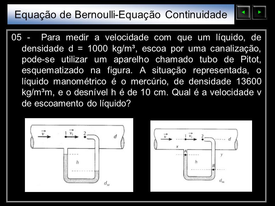 Sólidos Moleculares 05 - Para medir a velocidade com que um líquido, de densidade d = 1000 kg/m³, escoa por uma canalização, pode-se utilizar um apare