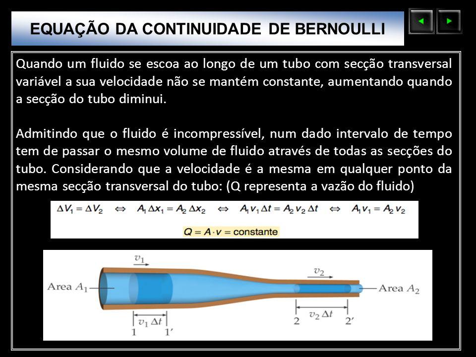 Sólidos Moleculares Quando um fluido se escoa ao longo de um tubo com secção transversal variável a sua velocidade não se mantém constante, aumentando