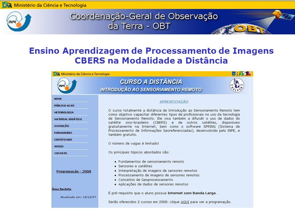Este artigo apresenta a metodologia do Módulo Processamento de Imagens CBERS do Curso a Distância : INTRODUÇÃO AO SENSORIAMENTO REMOTO, do INPE (OBT) em parceria com a SELPER, http://www.dpi.inpe.br/ead/intro_sr, e mostra a Avaliação realizada pelos formandos do curso concluído em dezembro de 2007, com a aprovação de 100% dos alunos, destacando 87,5% dos formandos com nota máxima neste módulo.