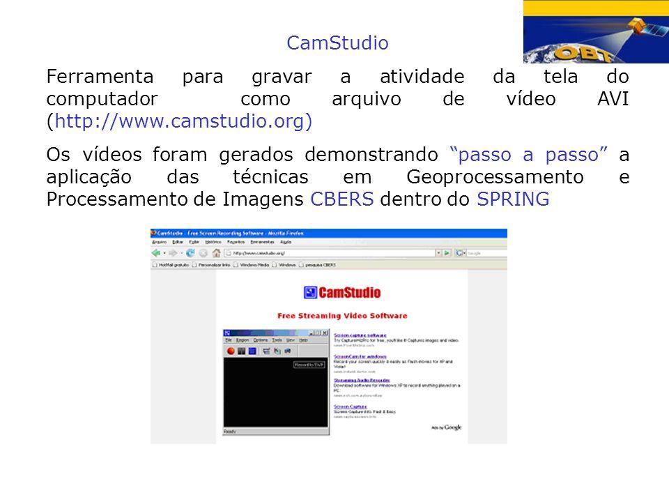 CamStudio Ferramenta para gravar a atividade da tela do computador como arquivo de vídeo AVI (http://www.camstudio.org) Os vídeos foram gerados demons
