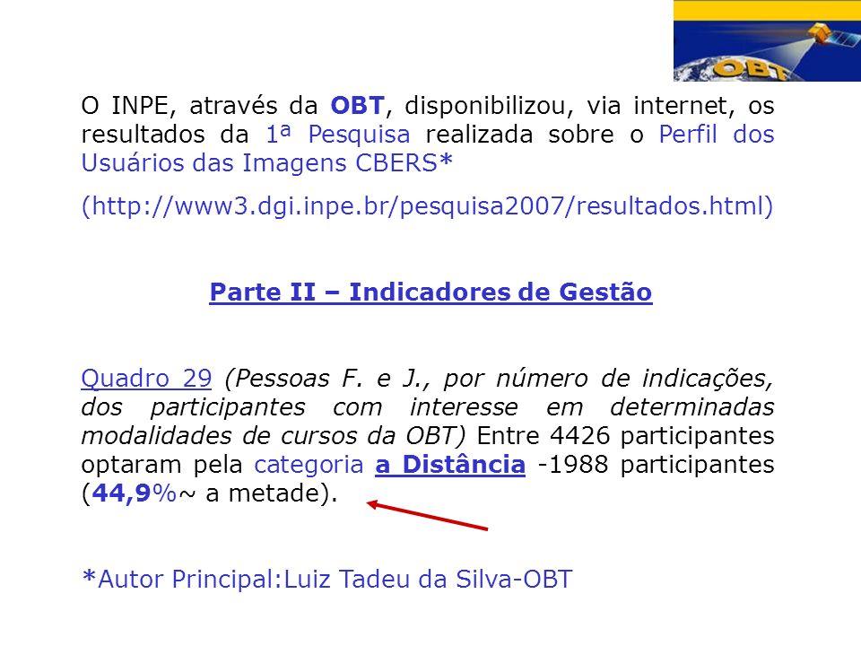O INPE, através da OBT, disponibilizou, via internet, os resultados da 1ª Pesquisa realizada sobre o Perfil dos Usuários das Imagens CBERS* (http://ww