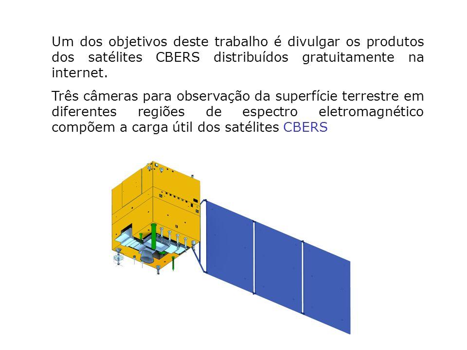 Um dos objetivos deste trabalho é divulgar os produtos dos satélites CBERS distribuídos gratuitamente na internet. Três câmeras para observação da sup