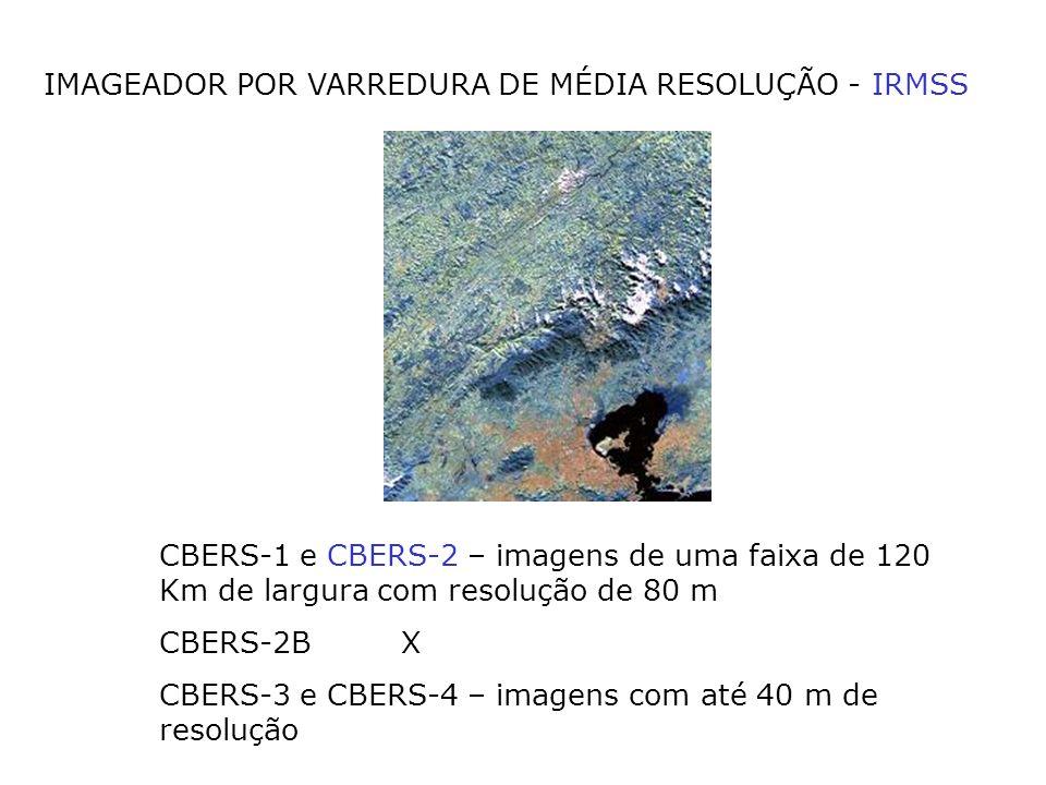 IMAGEADOR POR VARREDURA DE MÉDIA RESOLUÇÃO - IRMSS CBERS-1 e CBERS-2 – imagens de uma faixa de 120 Km de largura com resolução de 80 m CBERS-2B X CBER