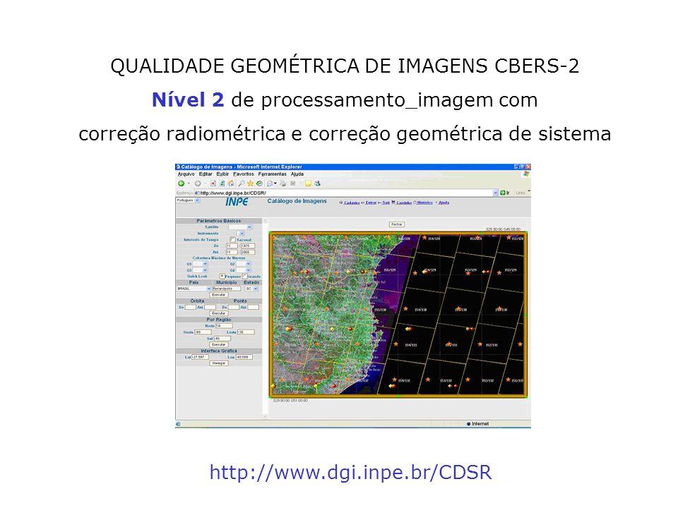 QUALIDADE GEOMÉTRICA DE IMAGENS CBERS-2 Nível 2 de processamento_imagem com correção radiométrica e correção geométrica de sistema http://www.dgi.inpe