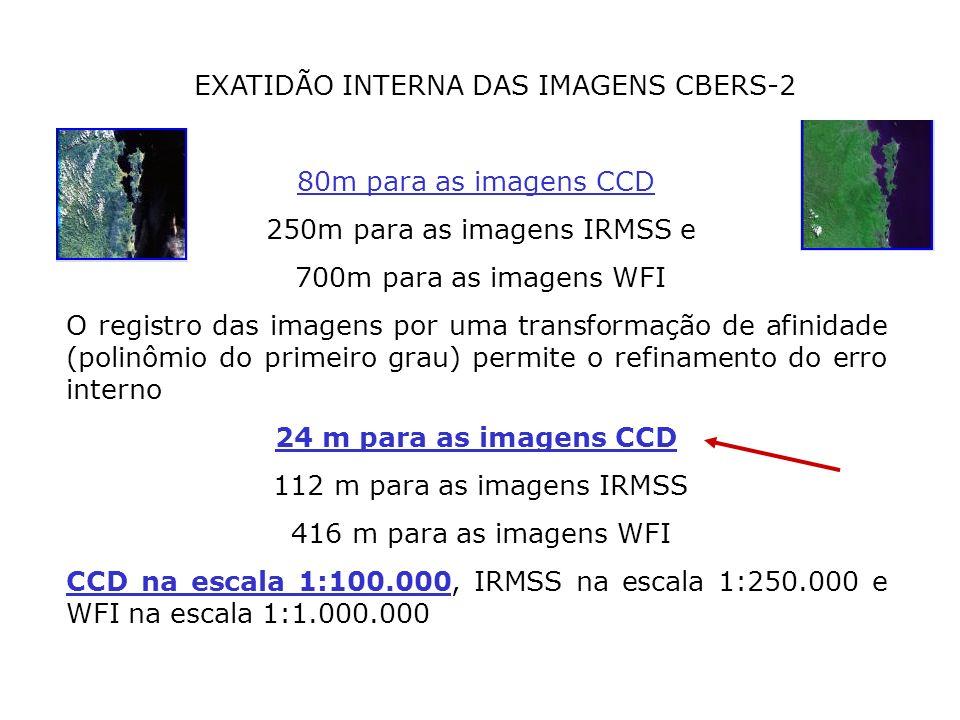 EXATIDÃO INTERNA DAS IMAGENS CBERS-2 80m para as imagens CCD 250m para as imagens IRMSS e 700m para as imagens WFI O registro das imagens por uma tran