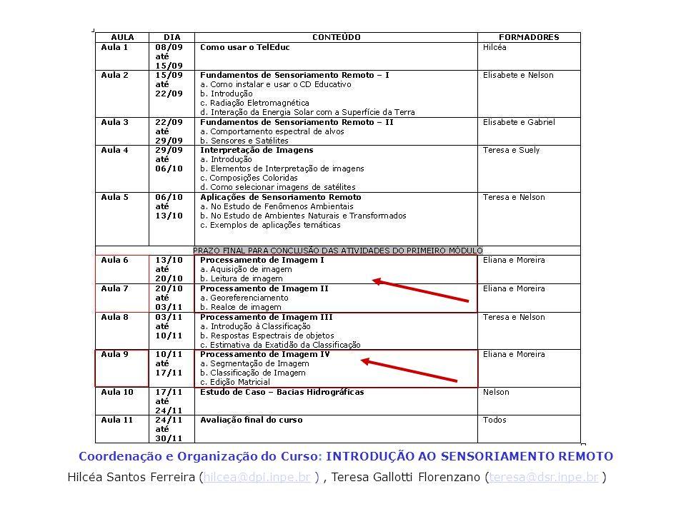 Coordenação e Organização do Curso: INTRODUÇÃO AO SENSORIAMENTO REMOTO Hilcéa Santos Ferreira (hilcea@dpi.inpe.br ), Teresa Gallotti Florenzano (teres