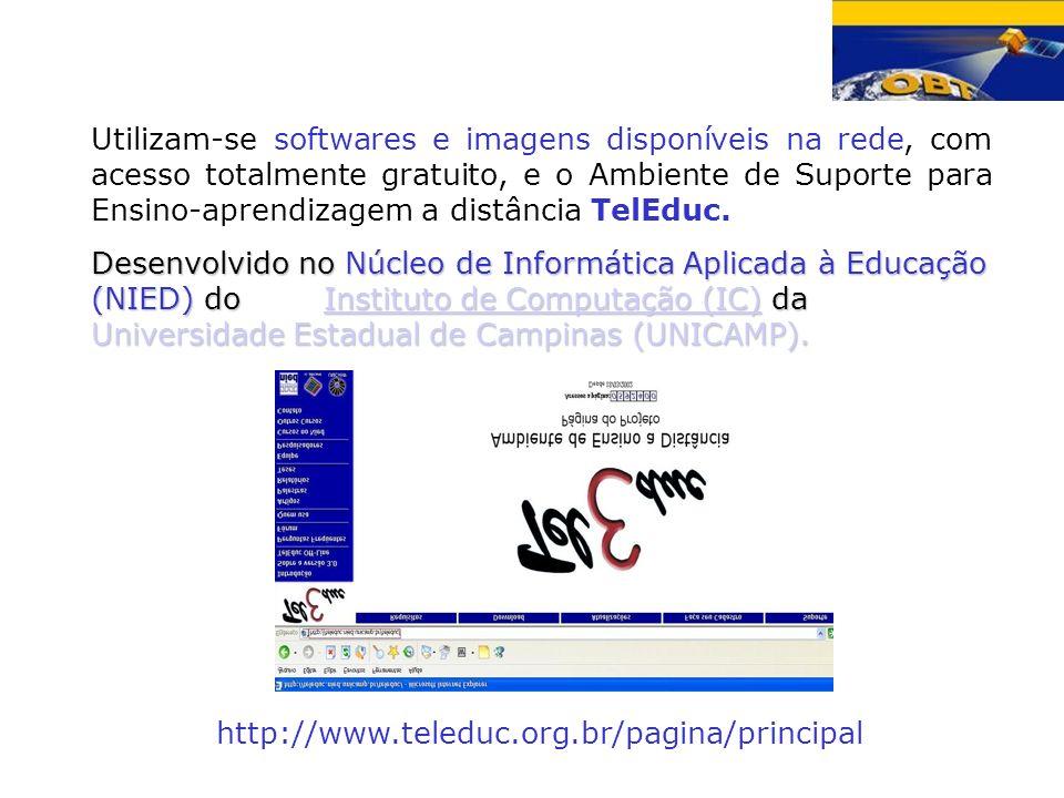 Utilizam-se softwares e imagens disponíveis na rede, com acesso totalmente gratuito, e o Ambiente de Suporte para Ensino-aprendizagem a distância TelE