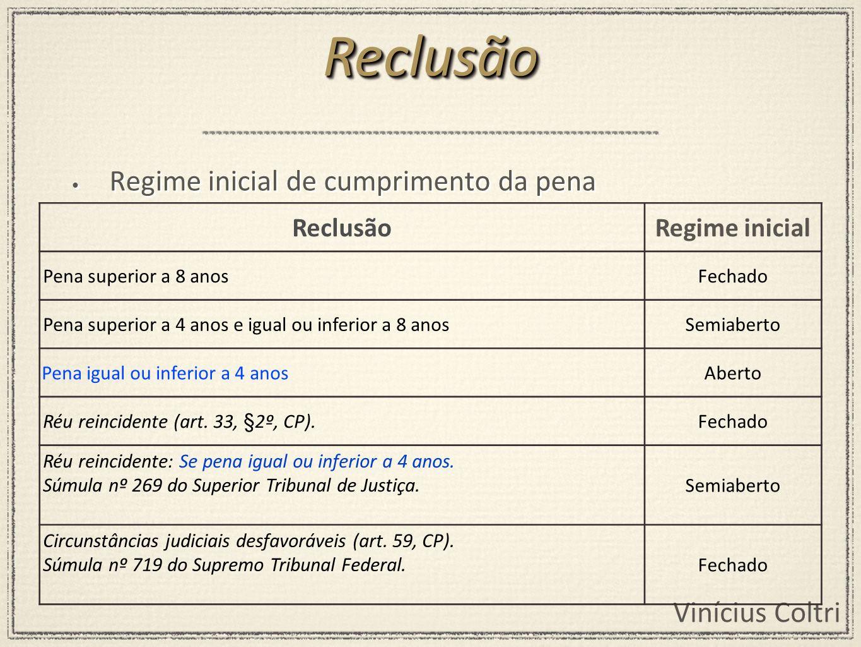 Vinícius Coltri Regime inicial de cumprimento da pena ReclusãoReclusão ReclusãoRegime inicial Pena superior a 8 anosFechado Pena superior a 4 anos e i