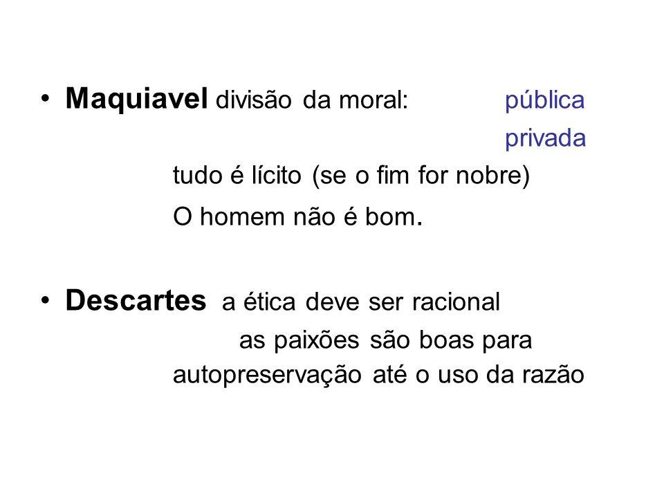 Maquiavel divisão da moral: pública privada tudo é lícito (se o fim for nobre) O homem não é bom. Descartes a ética deve ser racional as paixões são b