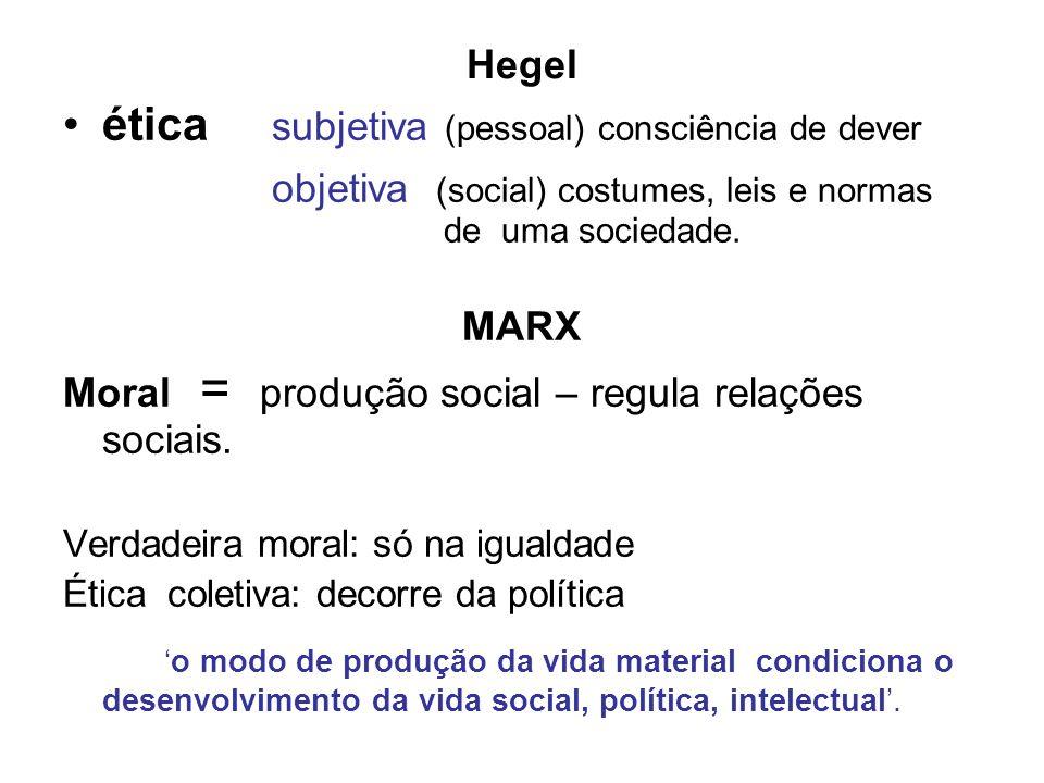 Hegel ética subjetiva (pessoal) consciência de dever objetiva (social) costumes, leis e normas de uma sociedade. MARX Moral = produção social – regula